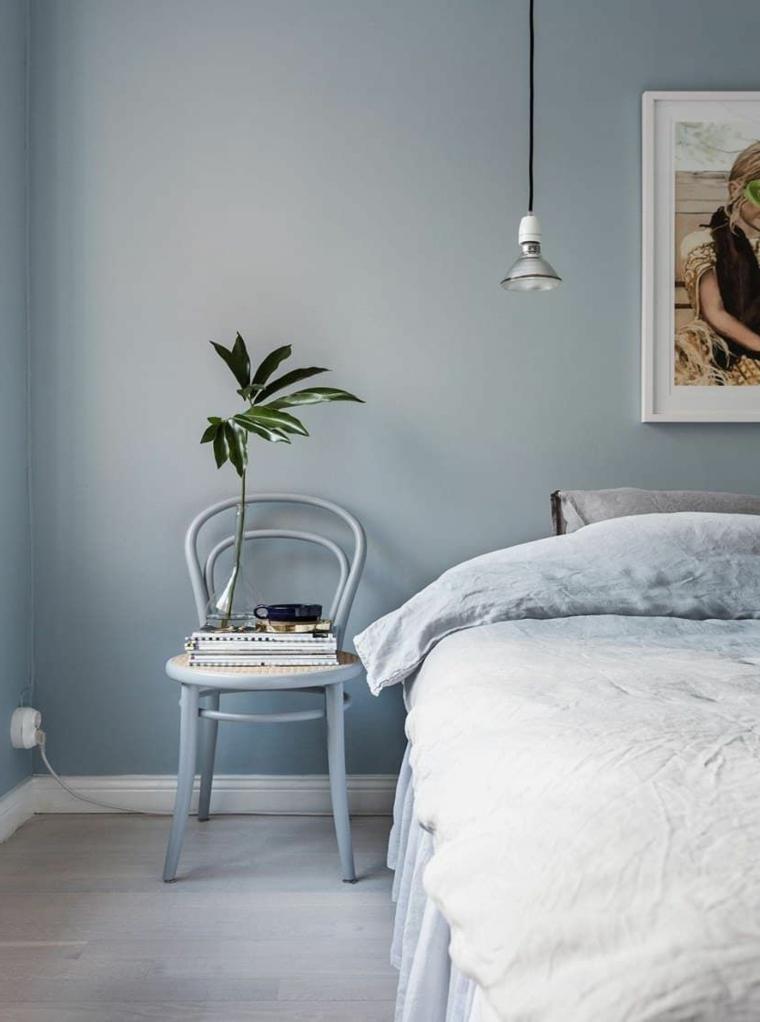 colori pareti camera da letto 2021 pittura colore grigio sedia di legno come comodino