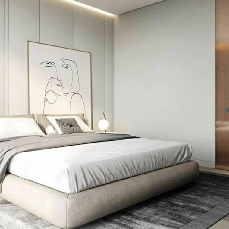 colori pareti camera da letto pannello dietro il letto di colore grigio