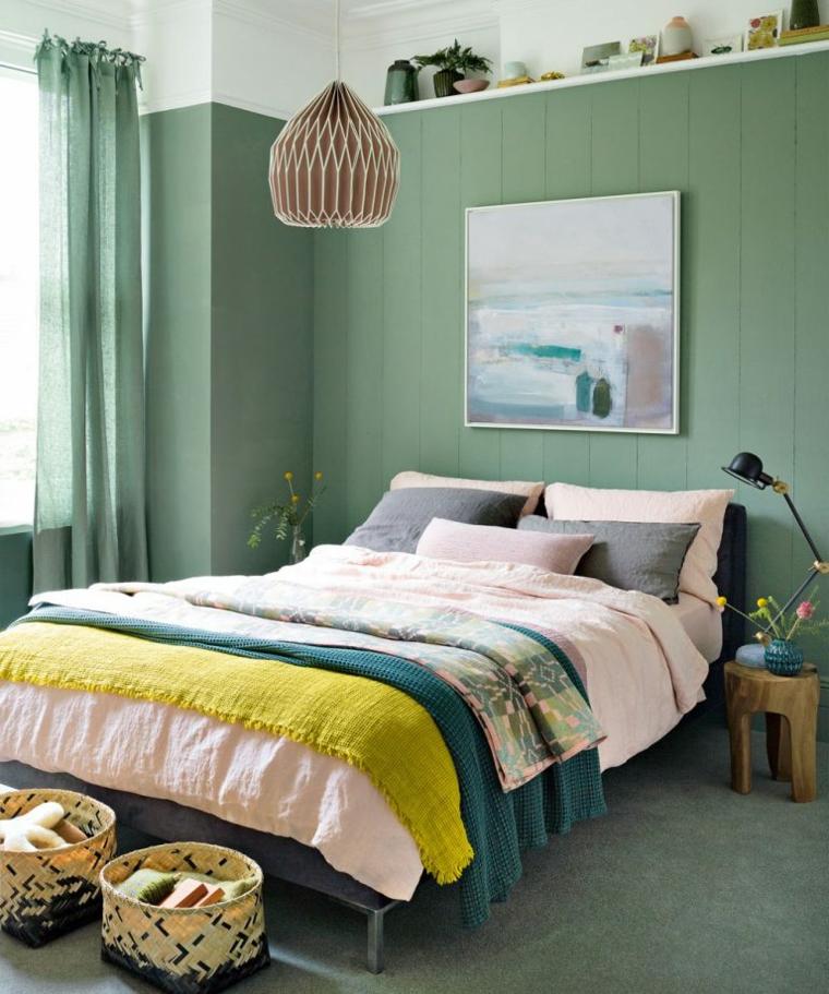 colori per pareti camera da letto pannello in legno verde salvia decorazione con cesti