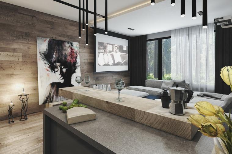 cucina con parete rivestita di legno isola con top in legno illuminazione con faretti