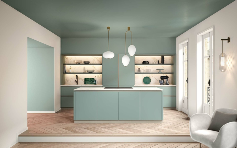 cucina moderna dipinta di verde soffitto abbinamento al bianco