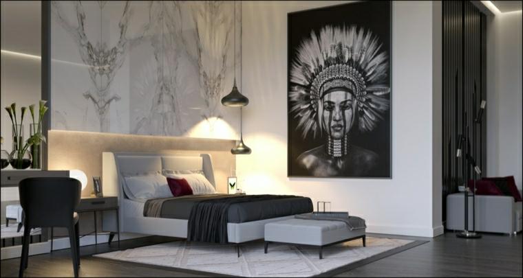decorazione parete con pannello effetto marmo mobili stile moderno per camera da letto
