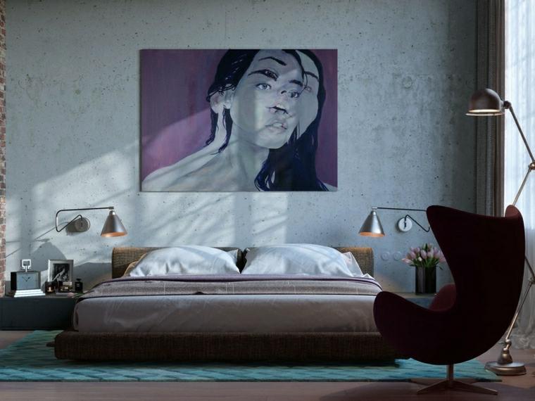 idee per dipingere camera da letto pittura colore grigio arredamento stile industriale
