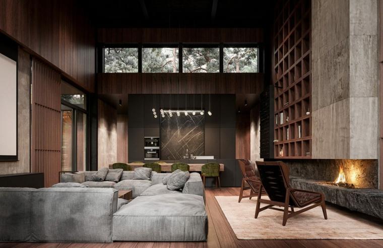 open plan casa salotto e sala da pranzo insieme effetto boiserie con pittura