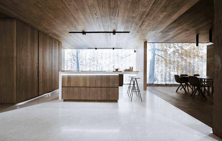 open space cucina e sala da pranzo pareti e soffitto rivestite in legno naturale