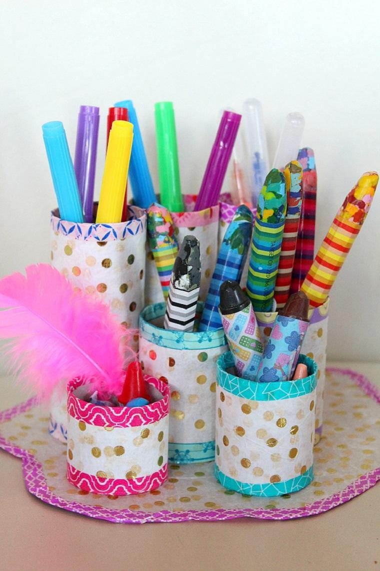 organizer per scrivania bambini contenitori per penne rotoli carta igienica lavoretti