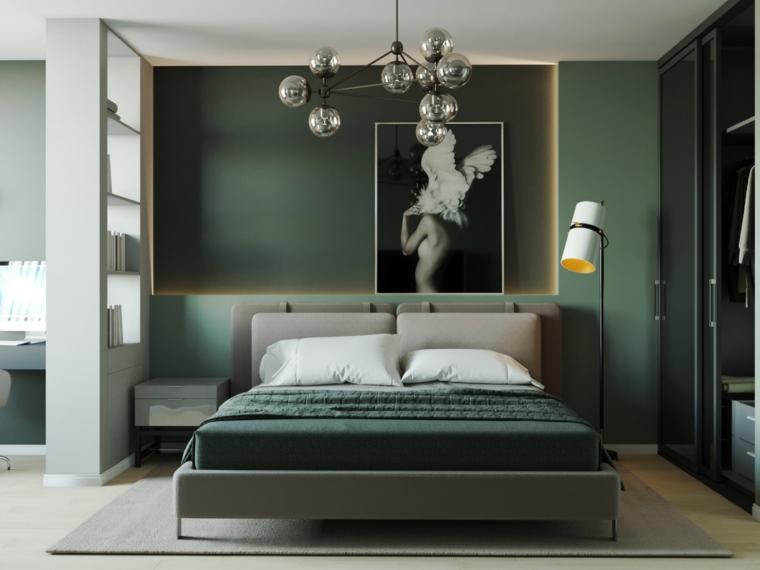 palette colore verde camera da letto con pareti verdi decorazione con quadri