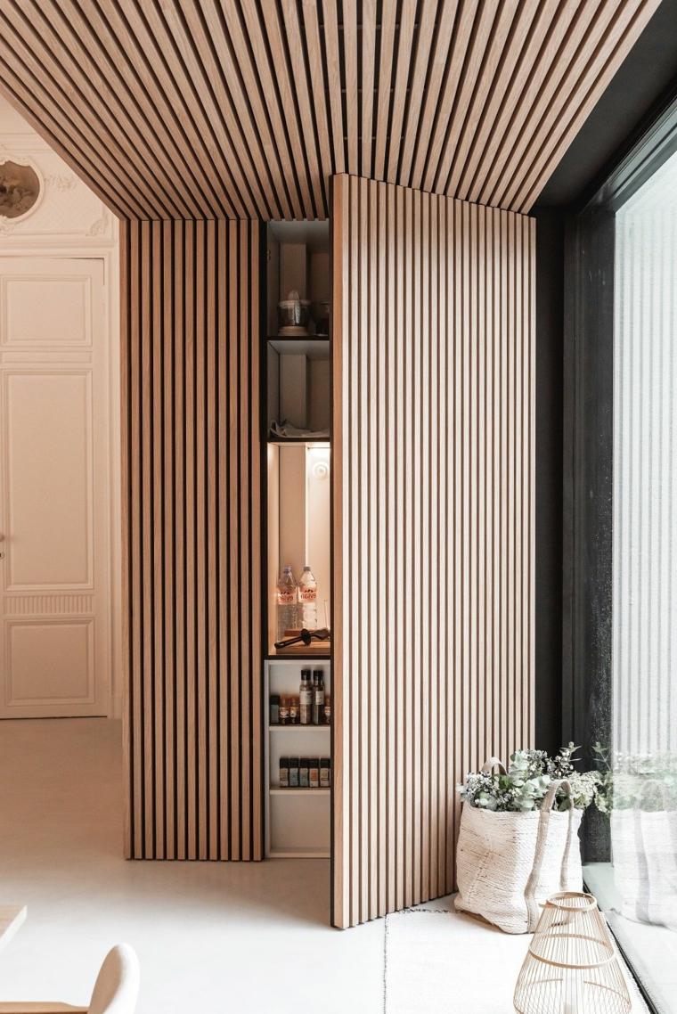 pannello boiserie cartongesso effetto legno dispensa moderna in cucina
