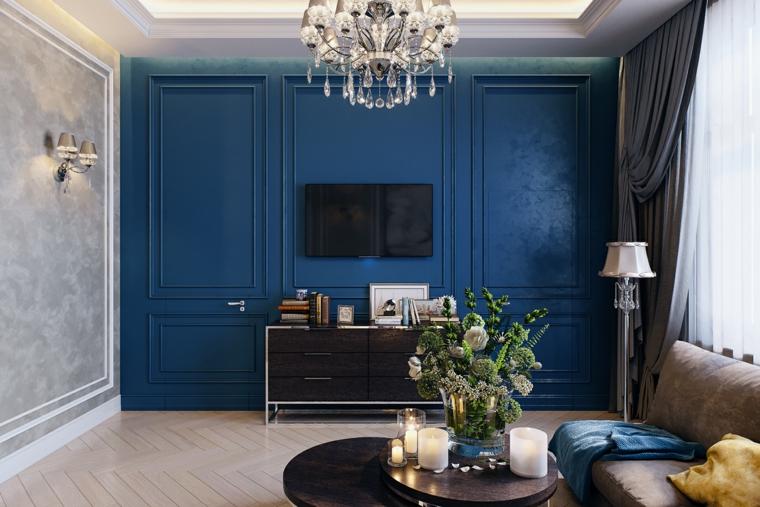 pannello boiserie in cartongesso di colore blu porta integrata nel muro