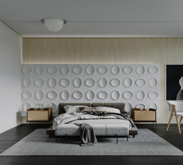 pannello decorativo dietro il letto abbinamento legno e bianco in camera da letto