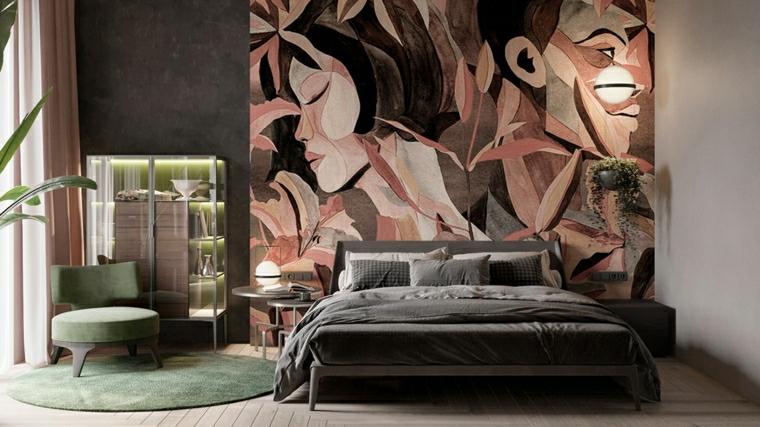 pannello decorativo per camera da letto abbinamento colori scuri verde e grigio