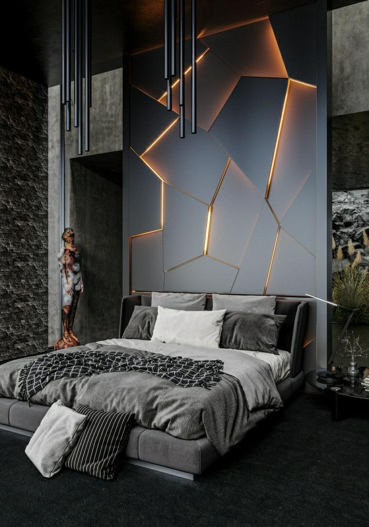 pannello dietro il letto con illuminazione pittura pareti colore grigio scuro