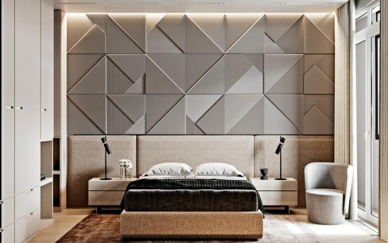 pannello forme geometriche illuminazione integrata camera da letto di colore grigio