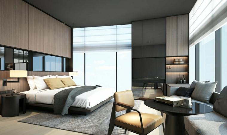pannello in legno con vetro dietro il letto camera da letto di colore grigio scuro