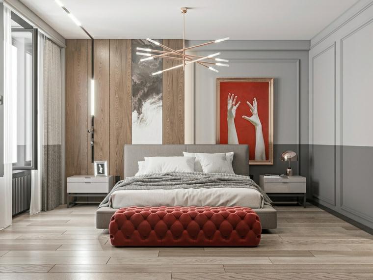 pannello in legno dietro il letto decorazione camera da letto pareti bicolore bianco e grigio