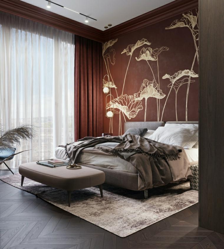 parete con carta da parati camera da letto con mobili di colore grigio