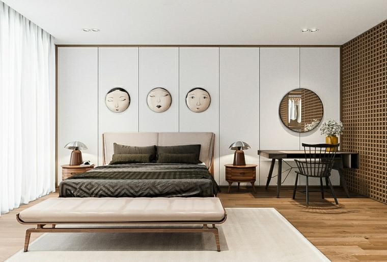 parete in legno di colore bianco abbinamento tonalità camera da letto