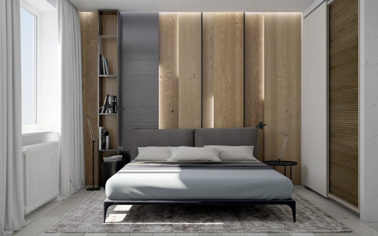 parete rivestita in legno camera da letto con cabina armadio pannelli con illuminazione led