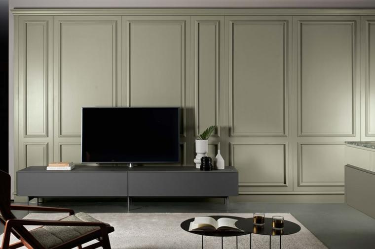parete soggiorno girigio effetto boiserie a quadri mobile tv basso