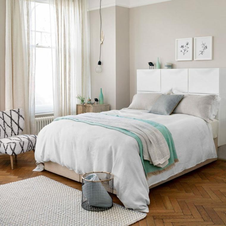 pareti bicolore camera da letto arredamento stile scandinavo pavimento in legno con tappeto