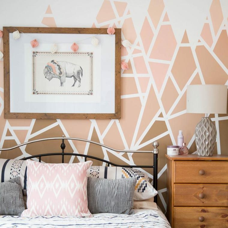 pareti bicolore camera da letto decorazione pittura con forme geometriche