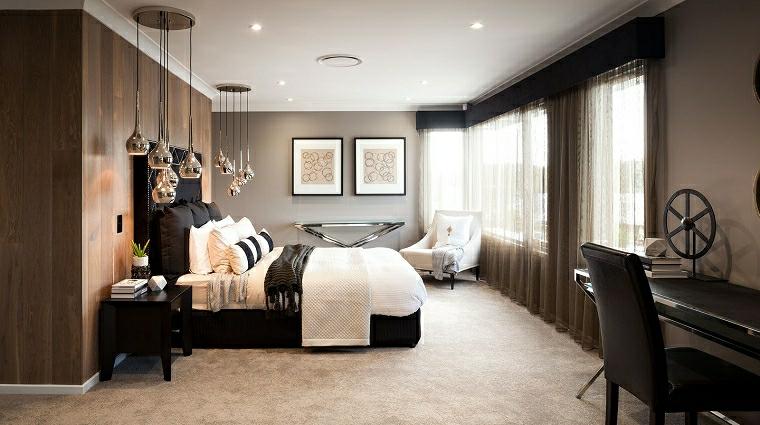 pareti camera da letto bicolore rivestimento muro con pannelli in legno