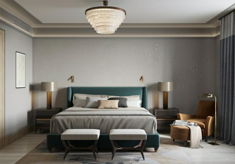 pareti dipinte di colore grigio testata verde scuro pavimento con tappeto
