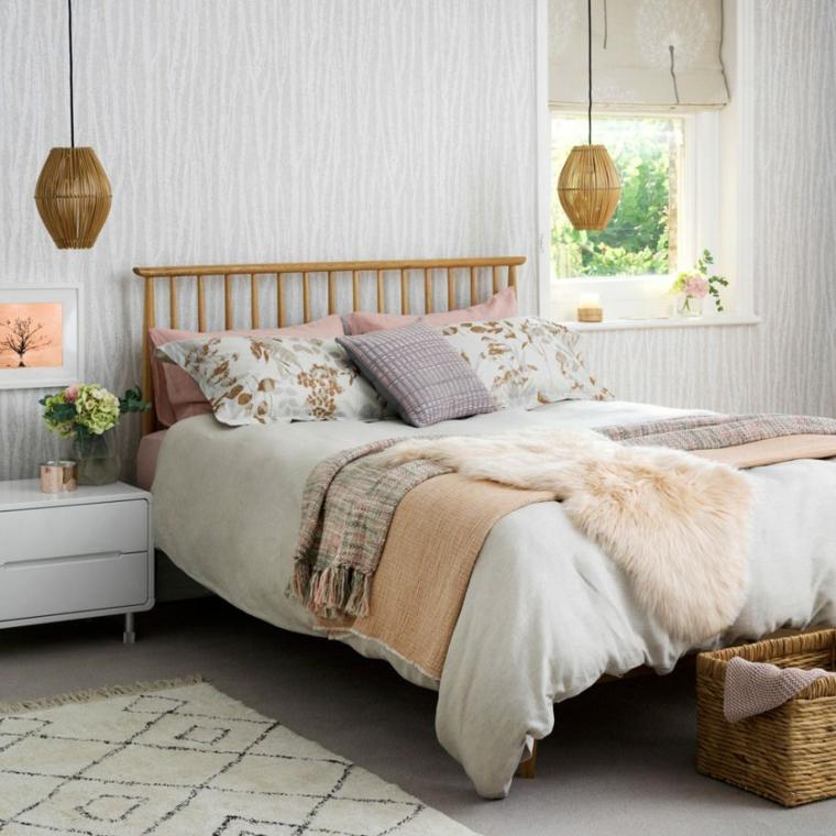 pittura camera da letto tortora decorazione con lampade sospese
