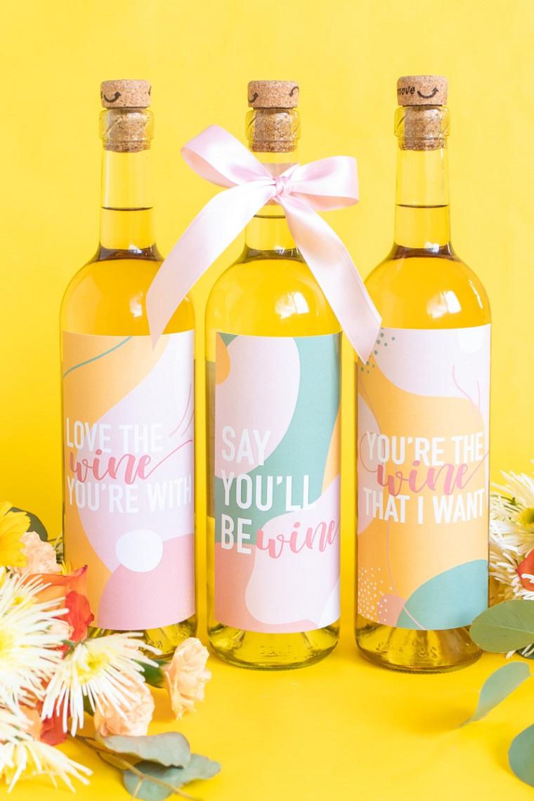 regali originali san valentino bottiglia di vino con etichetta personalizzata