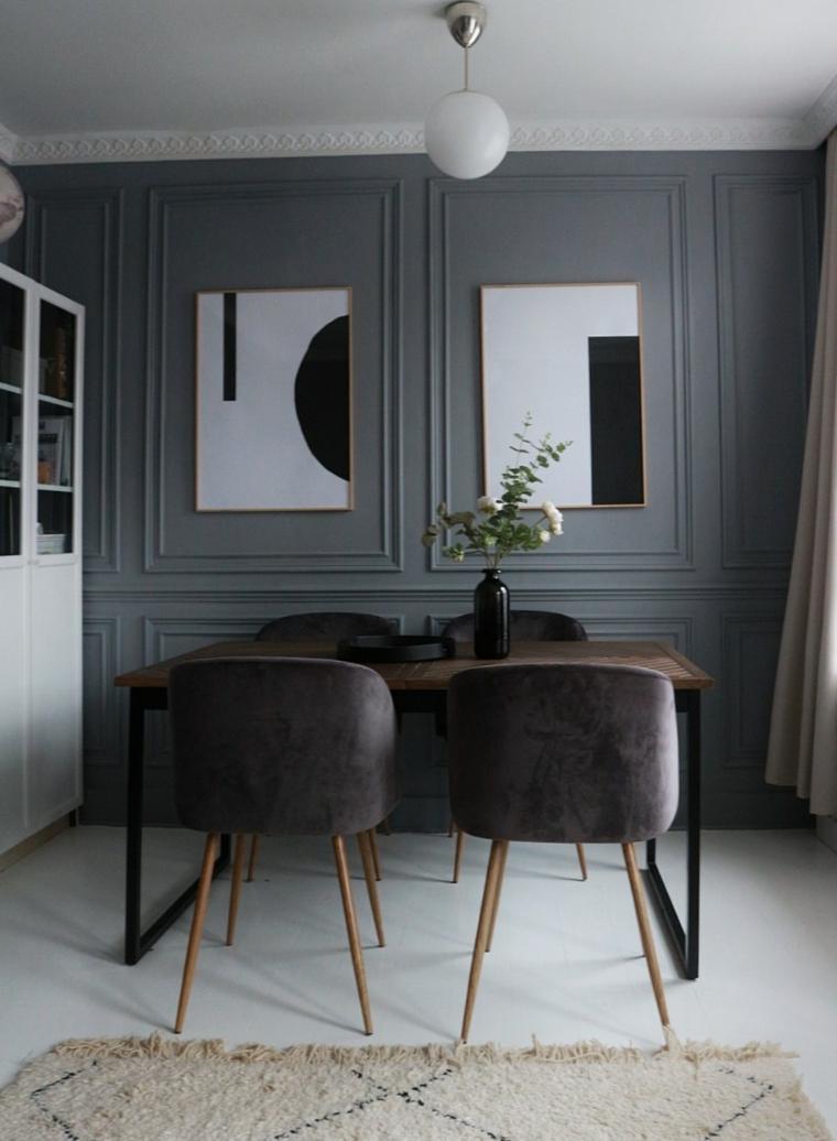 sala da pranzo con set di mobili di colore grigio parete rivestita in legno boiserie grigia