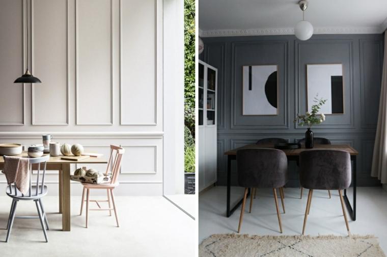 sala da pranzo con set di mobili in legno pareti effetto boiserie di colore grigio
