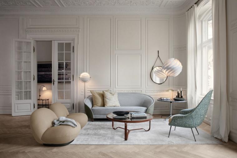 salotto con divano grigio boiserie moderne eleganza in casa pannello in legno bianco