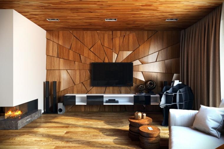 salotto con parete effetto legno a triangoli soggiorno con camino