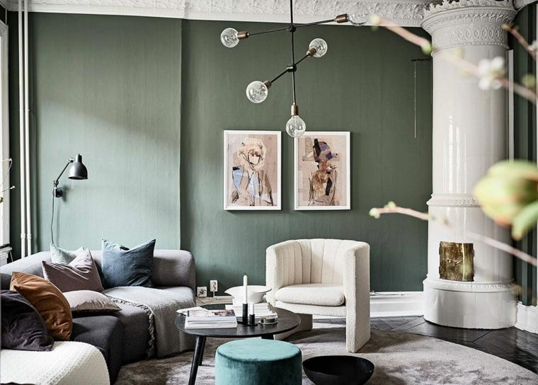 soggiorno con divano angolare abbinamento colori verde salvia decorazione con lampadario