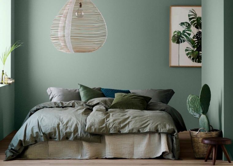tonalità di verde per pareti interne camera da letto decorazioni con piante grasse