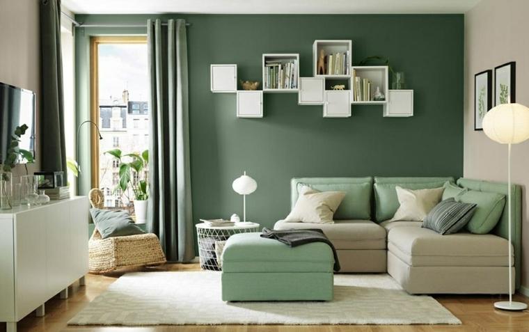tonalità di verde per pareti interne salotto con divano angolare arredamento con credenza bianca