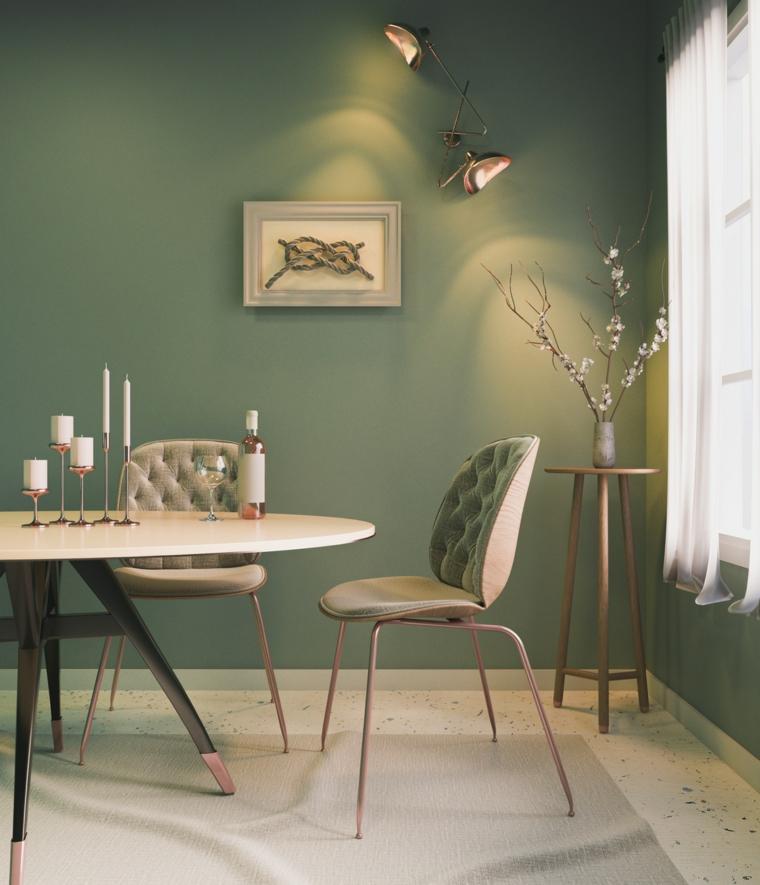 tonalità di verde per pareti salotto con tavolo da pranzo e sedie decorazione con candele