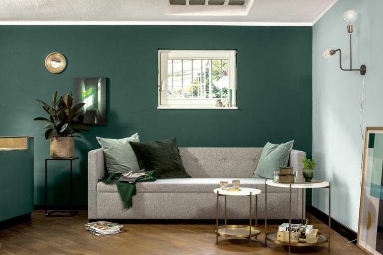 verde salvia soggiorno con abbinamenti di colori pareti divano grigio con tavolini di marmo