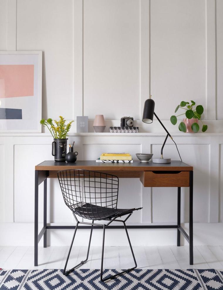 zona di lavoro con scrivania parete dietro con pannello in legno di colore bianco
