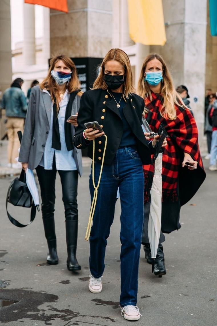 abbigliamento tumblr autunno 2021 outfit donna jeans vita alta giacca nero con bottoni