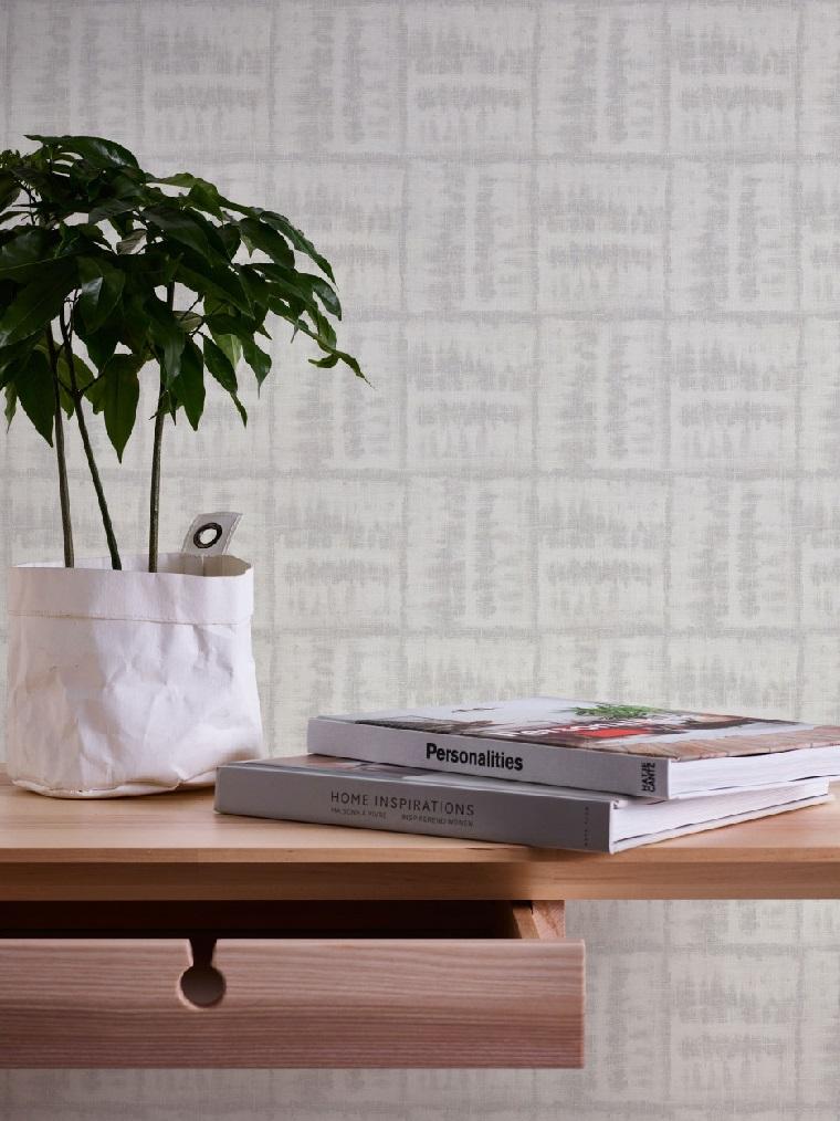 carta da parati scandiva print geometrici di colore grigio