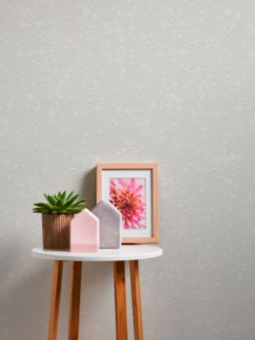 carta da parati stile nordico di colore grigio tavolino con pianta e fotografia