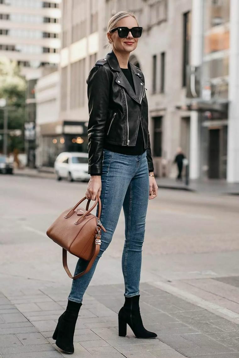 outfit tumblr inverno abbigliamento ragazza con giacca di pelle e jeans skinny