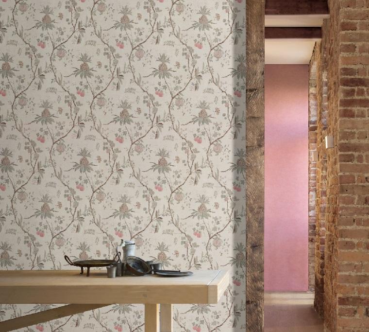 parete rivestita con carta da parati svedese print motivi floreali di colore grigio