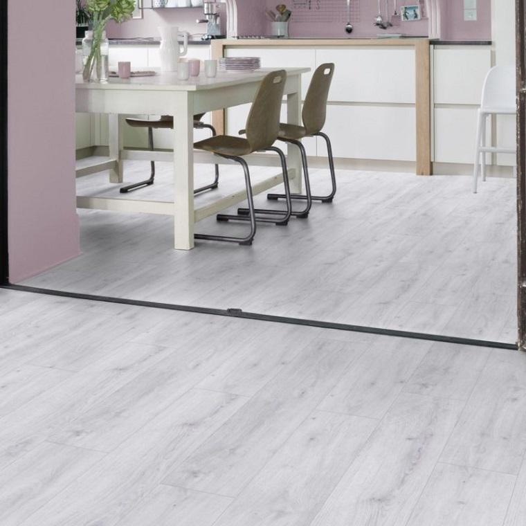 pavimento pavimento vinile pvc colore chiaro open space cucina sala da pranzo