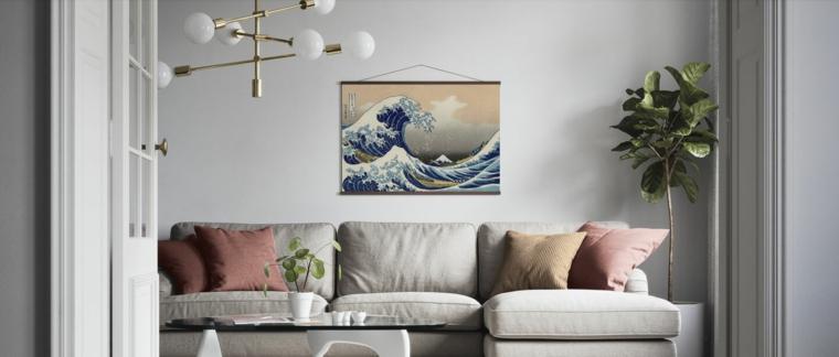 poster da parete disegno onde del mare soggiorno con divano grigio