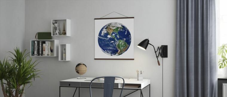 poster da parete motivo astronomia disegno pianeta terra sopra la scrivania