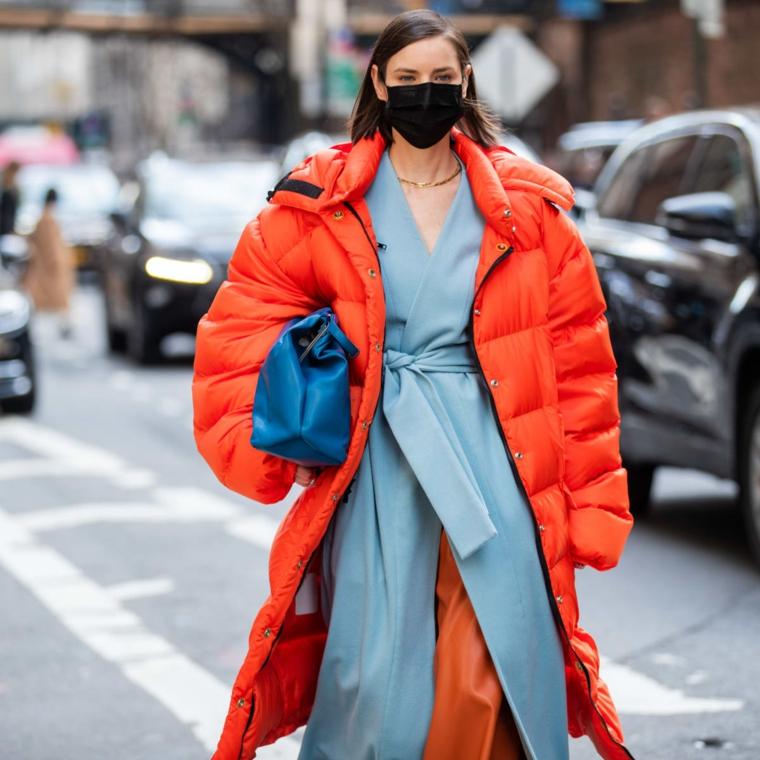 puffer jacket come vestirsi tumblr donna con trench di colore azzurro