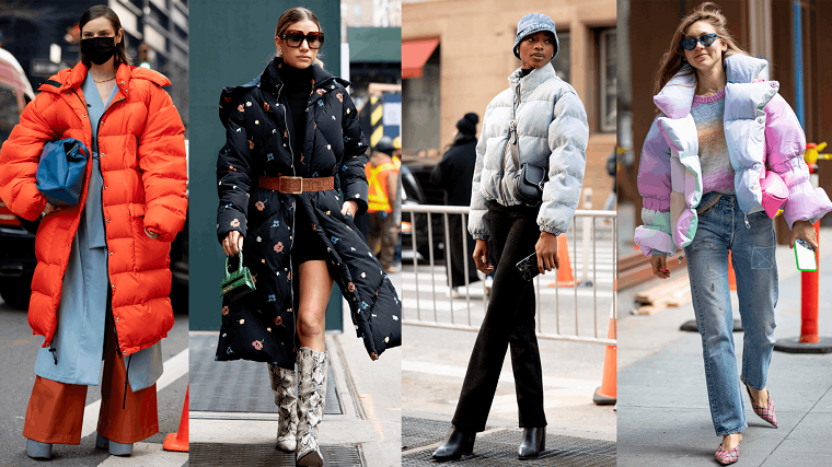 tendenze autunno inverno 2021 puffer jacket colorati street style donne
