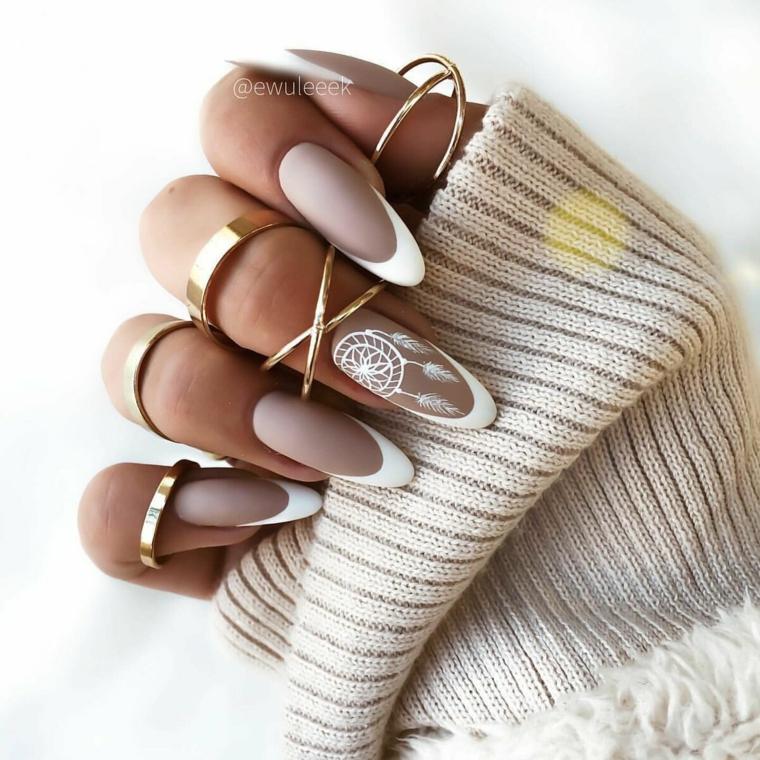 unghie gel autunno 2021 manicure ballerina smalto colore grigio french bianco